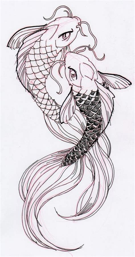 koi fish tattoo outline designs two cool koi fish ink drawing stuff for school