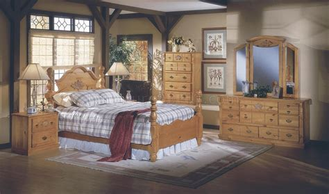 pine all wood country style bedroom w carved wood accents