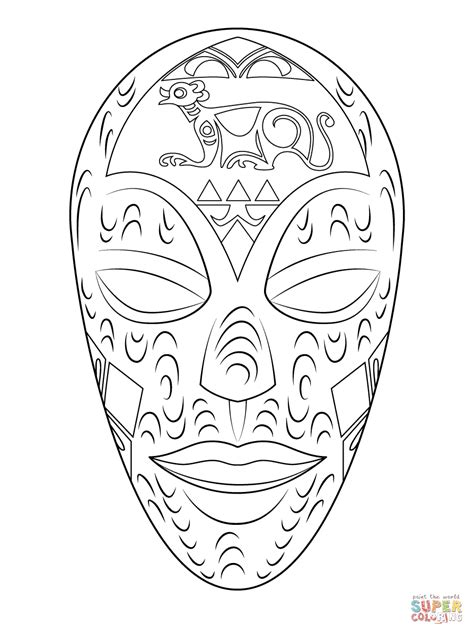 african wooden mask coloring page free printable