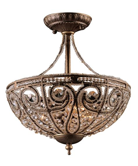 Ceiling Mounted Chandelier Elk Lighting 5964 3 Elizabethan Semi Flush Ceiling Fixture