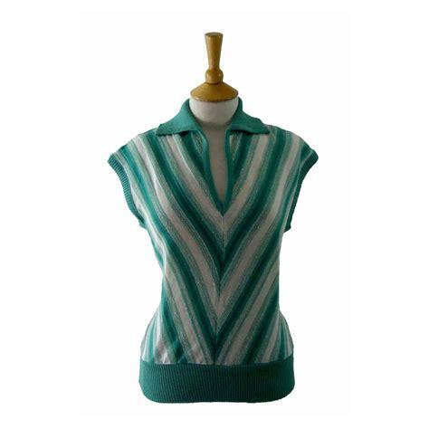 80s v neck top 14 blue 17 vintage fashion