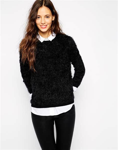 Sweater Esprit esprit fluffy knit jumper in black lyst