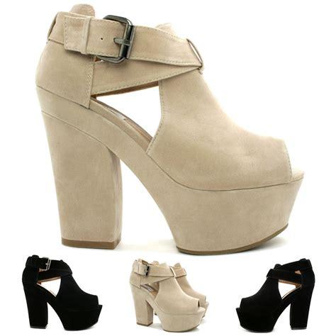 new womens demi wedge heel peep toe buckle platform shoes