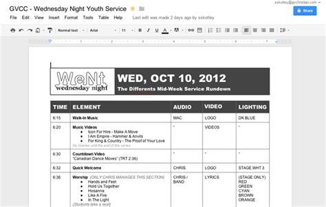 show rundown template use docs to collaborate and build your church