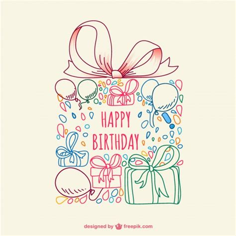 doodle for birthday vector doodle birthday card vector free