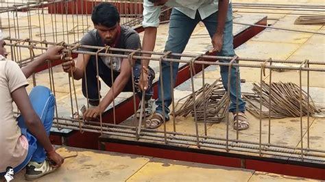 installation of rebar reinforcement steel bars for beam