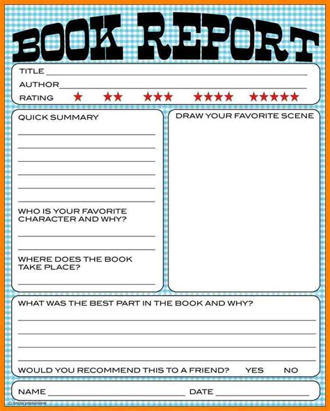 10 book report template 5th grade dialysis nurse