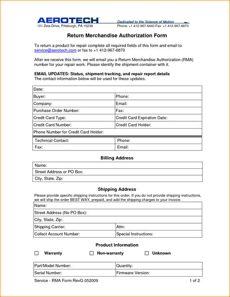Merchandise Return Form Template 8 return authorization form authorization letter