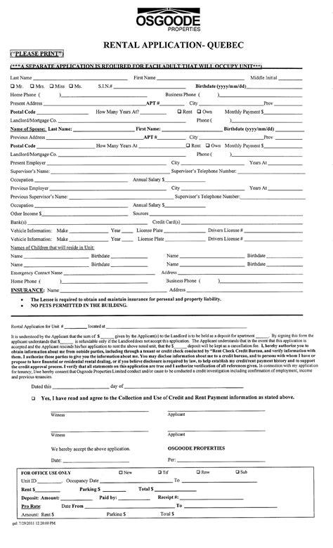Credit Application Form Canada rental application form for free tidyform