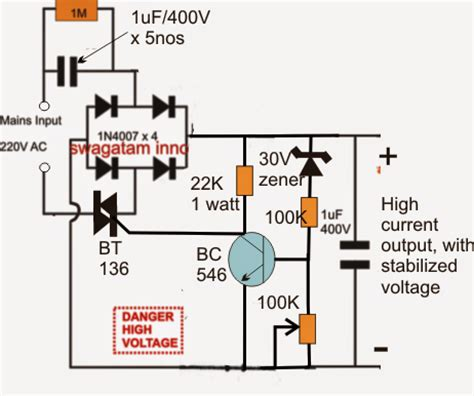 high current power supply circuit high current transformerless power supply circuit