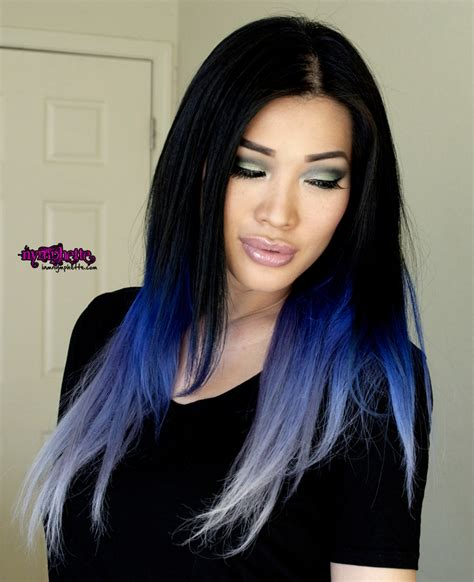 old japanese ladies purple hair blue ombre purple lilac pastel hair asian cut crease soft