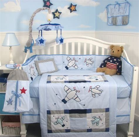 airplane nursery bedding soho airplane baby crib nursery bedding set 13 pcs