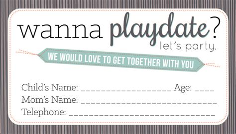 Playdate Cards Printable Template by Sissyprint Playdate Calling Cards