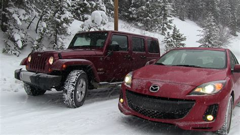 jeep wrangler snow tires 2013 mazda3 vs jeep wrangler snowstorm winter tire mashup test