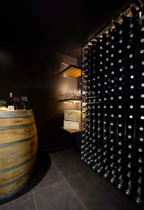 basement wine cellar with block wine rack contemporary