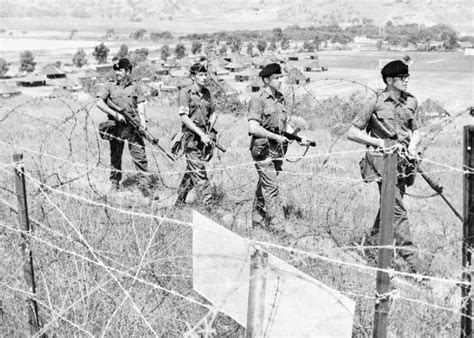 patrolling the cold war british troops patrol the perimeter of their base during the turkish invasion of cyprus 1974
