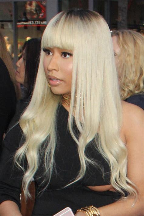 Nicki Minaj Hairstyles With Bangs by Nicki Minaj Wavy Platinum Roots
