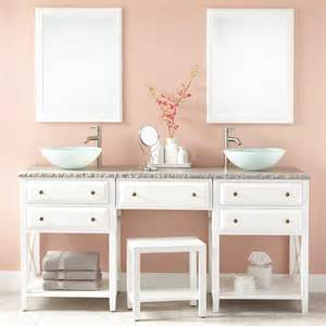 Bathroom Makeup Vanities 72 Quot Glympton Vessel Sink Vanity With Makeup Area White Bathroom