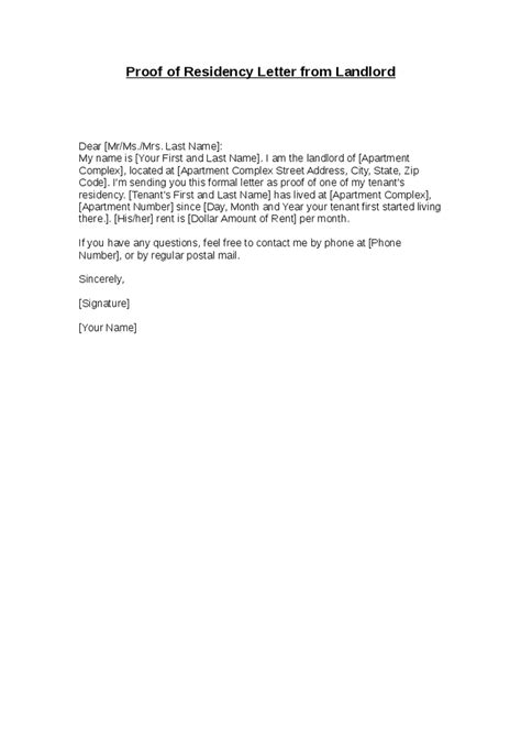 Exle Letter From Landlord Proof Of Rent Proof Of Residency Letter From Landlord Hashdoc
