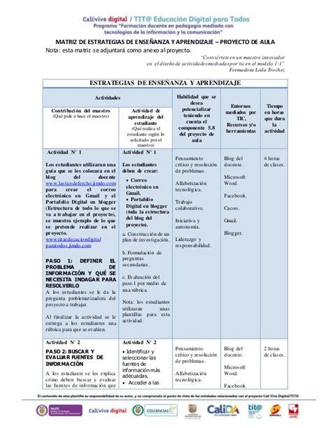 proyectos y estrategias de matriz de estrategias de ense 241 anza y aprendizaje proyecto de aula