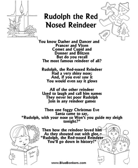 printable lullaby lyrics christmas carol lyrics rudolph the red nosed reindeer