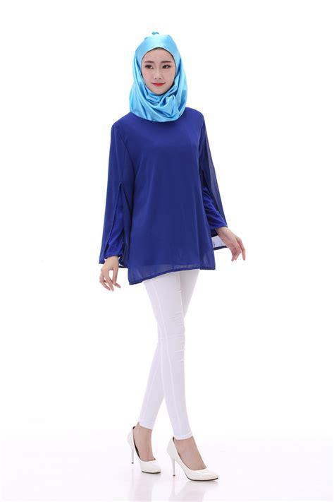 Blouse Denim Grey Atasan Muslim Blouse Muslim muslim blouses autumn style arab top clothing muslim chiffon shirts solid color