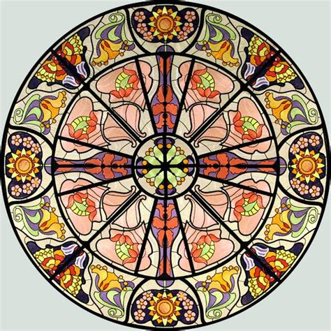 art design in circle bfc0894 stained glass art nouveau circle in a square