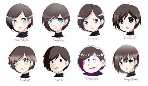 style challenge 8 different anime styles by karuuko on