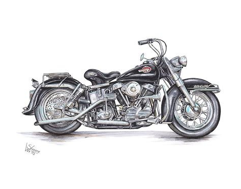 Harley Davidson Drawings by 1959 Harley Davidson Panhead Drawing By Shannon Watts