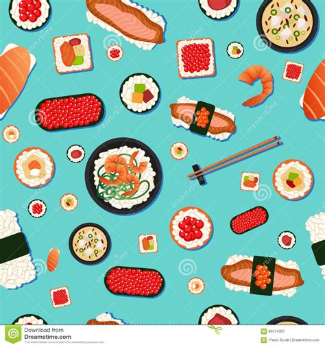meal pattern of japanese cuisine japanese food seamless pattern sushi stock illustration