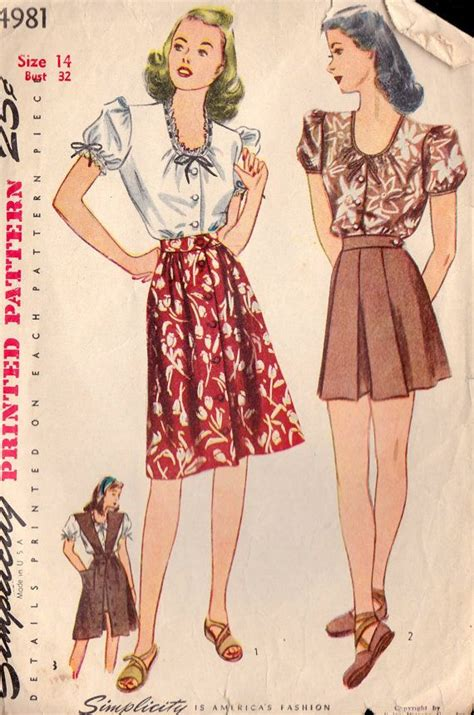 pattern for jumper shorts 1944 misses blouse jumper shorts and skirt simplicity