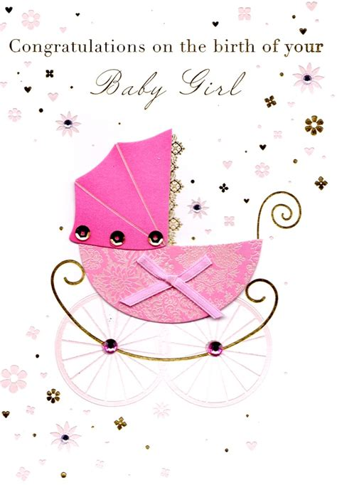new baby girl card gorgeous girl tree finely embossed in gold