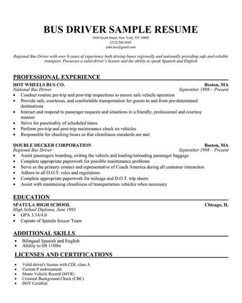 resume samples limousine driver resume