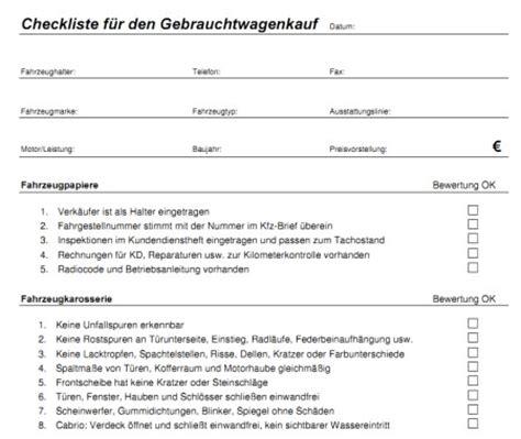 Checkliste Hausbesichtigung by Checkliste F 252 R Den Gebrauchtwagenkauf Zum Ausdrucken