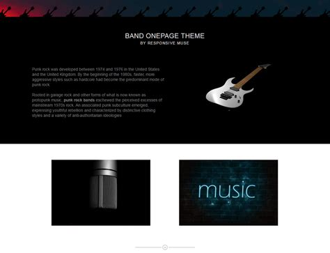 Band One Page Template Responsive Muse Templates Widgets Muse Templates Responsive