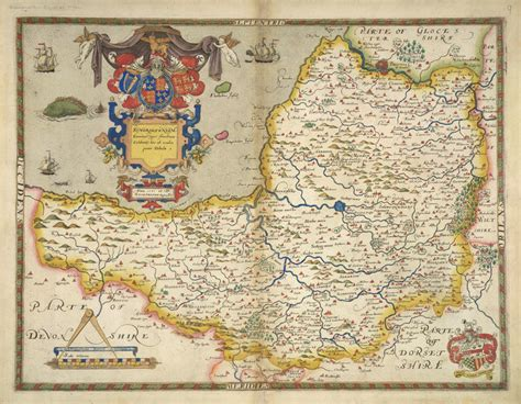 map of somerset by christopher saxton library prints