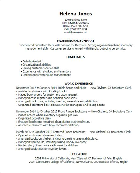 Resume Sles Adults Professional Bookstore Clerk Templates To Showcase Your