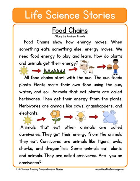 reading comprehension test about food science worksheets