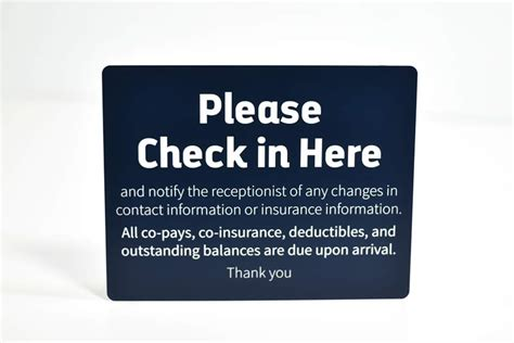 check in desk sign large check in copay signs medical office copay signs