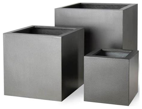 imported fiberglass cube planters modern