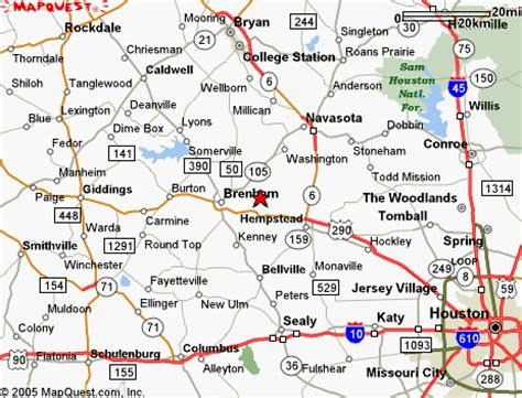 brenham bed and breakfast map of round top texas area