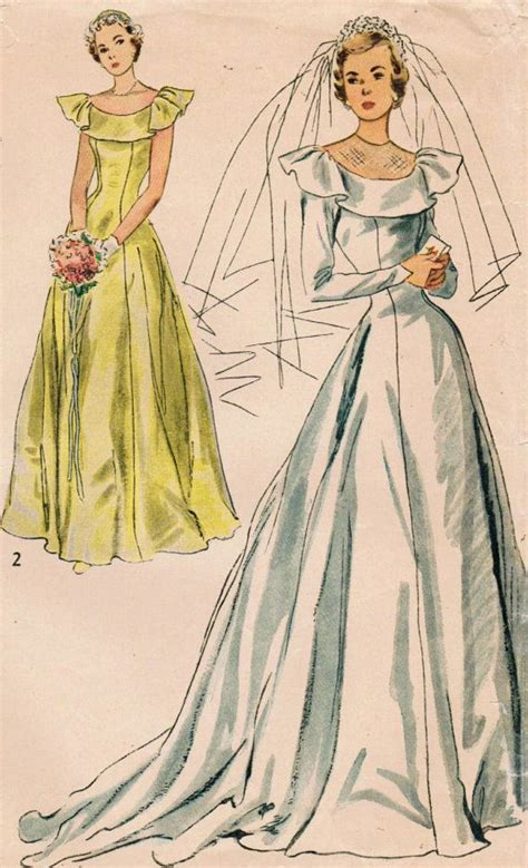 vintage pattern wedding dress 1940s simplicity 2724 vintage sewing pattern misses