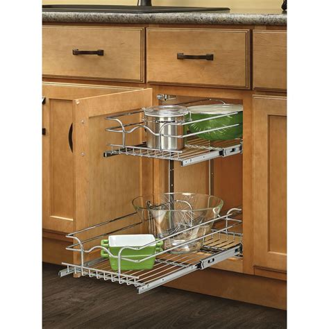 lowes kitchen cabinet organizers shop rev a shelf 11 75 in w x 22 in d x 19 in h 2 tier