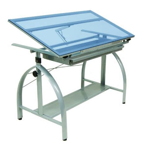 Studio Designs Avanta Drafting Table In Silver With Blue Avanta Drafting Table