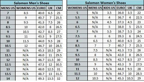 shoe size chart salomon er8mzd3s buy salomon shoe size