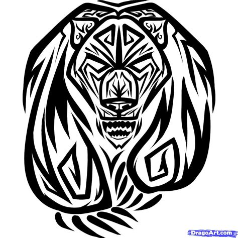 How To Draw A Tribal Bear Tribal Bear Step By Step Tribal Pictures