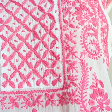 Pink White White Black Embroidery pink white embroidered cotton tunic by jayshree dalal