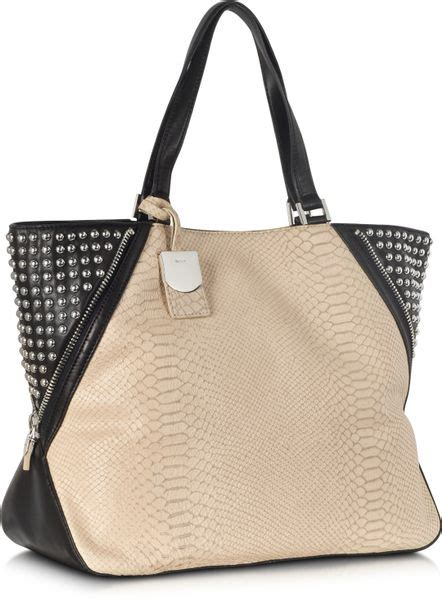 Prada Python 3195 dkny python printed leather large zip tote with studs in black sand lyst