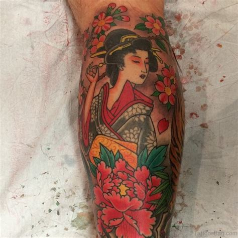 geisha tattoo with cherry blossoms 59 graceful geisha tattoos for leg