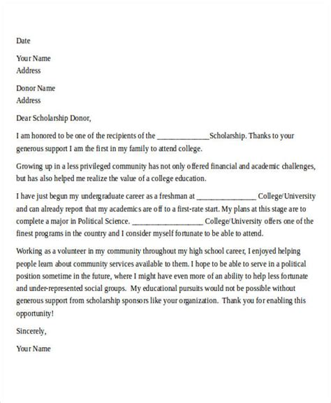 College Thank You Letter 40 Sle Thank You Letters